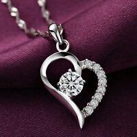 Herzkette Herz Herzform Halskette Kristall Klar 925 Sterling Silber pl. Geschenk