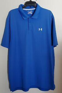 Under Armour Men's Golf Polo Shirt Size XL Loose Fit Heat Gear Bright Blue