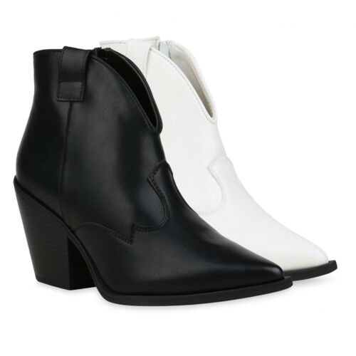 Damen Stiefeletten Leicht Gefütterte Cowboy Boots Chunky 832884 Schuhe