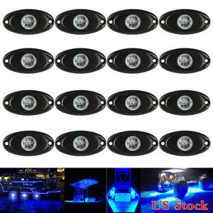 16x-CREE-LED-Rock-Light-9W-Blue-for-Boat-Jeep-SUV-off-Road-Under-Trail-Rig-Lamp