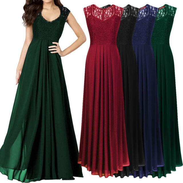 Womens Chiffon Maxi Formal Party Lace Ballgown Cocktail Bridesmaid Long Dress