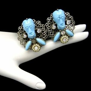 Signed-SELRO-Vintage-Clip-Earrings-Rare-Blue-Devil-Genie-Faces-Silver-Plated