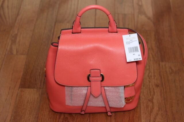 3bbe77f3c9d0 NWT Michael Kors $398 Romy Medium Pebble Leather Backpack Bag Pink  Grapefruit