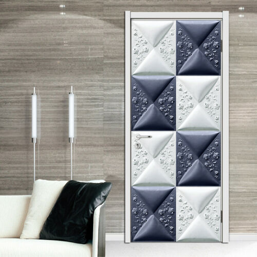 Creative 3D Geometric Self-Adhesive Door Murals Bedroom Wall Stickers Wallpaper