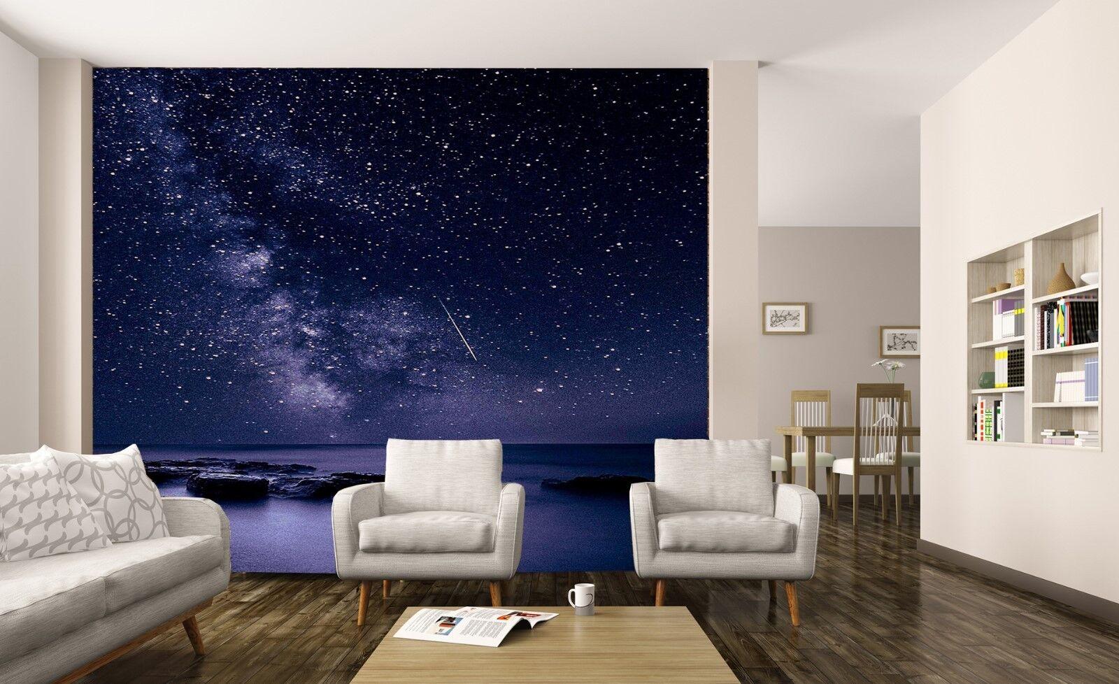Space Galaxy Stars Planets Night Sky Wallpaper Mural Shooting Star Photo Poster Ebay