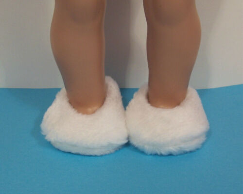 """Debs WHITE Faux Fur Fuzzy Doll Slippers House-Shoes For 18/"""" American Girl"""