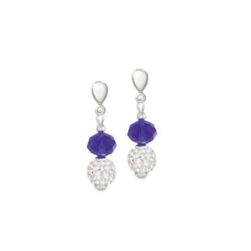Majestic Gota De Cristal Azul Real Pendientes de Clip en