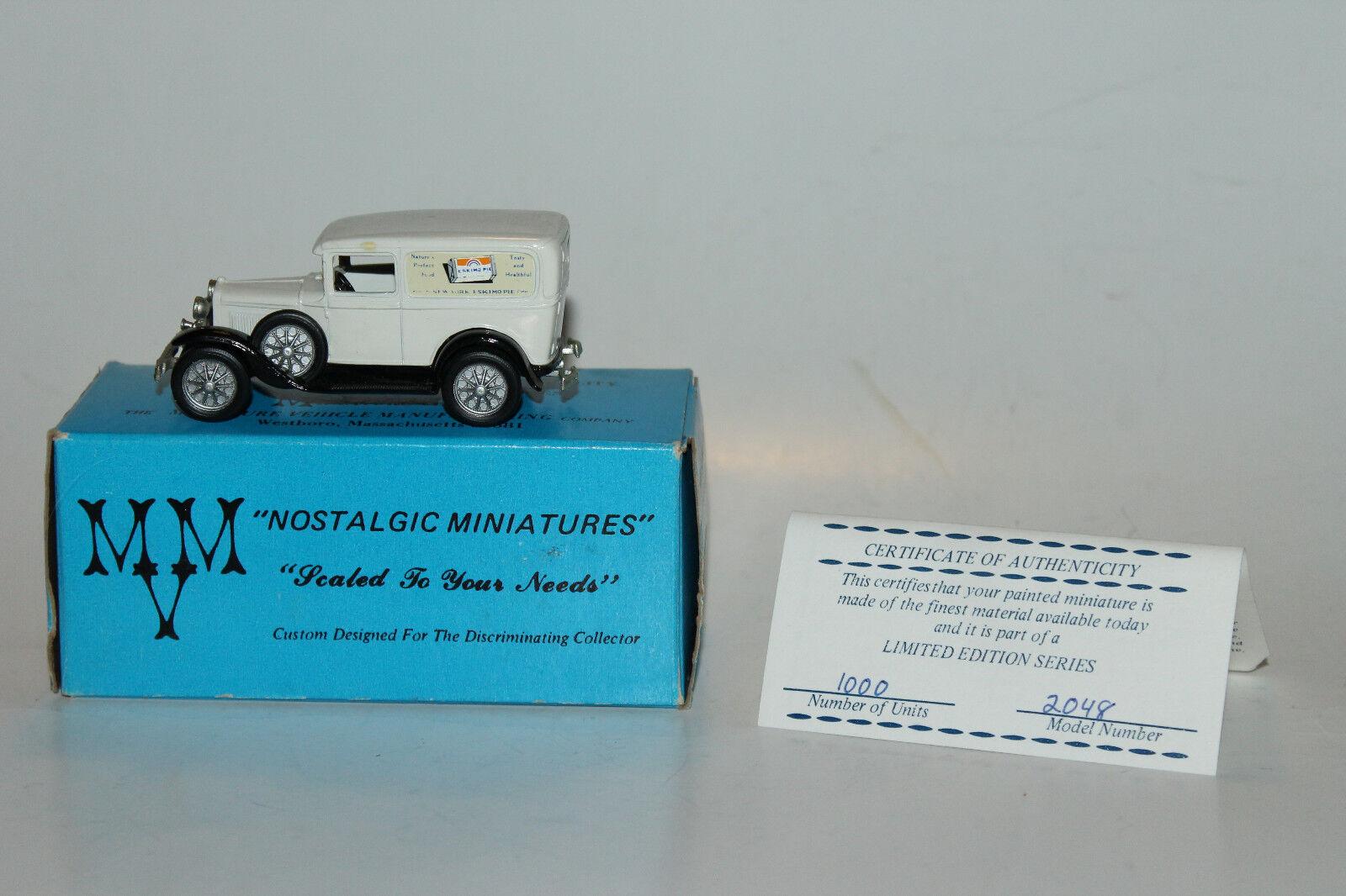 MVM NOSTALGIC MINIATURES 1931 FORD MODEL A DELIVERY, ESKIMO ESKIMO ESKIMO PIE, EXCELLENT 5107e6