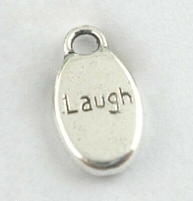 Word Charms LAUGH Pendants Silver Awareness Inspirational 15mm Lot of 20