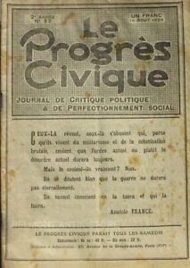 Le Progrès Civique N°52 1920 - Journal De Critique Politique - Henri Dumay Rare