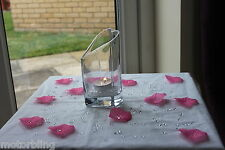 2000 x CLEAR 4.5MM DIAMONDS + 100 LIGHT PINK ROSE PETALS CHRISTENING TABLE DECOR