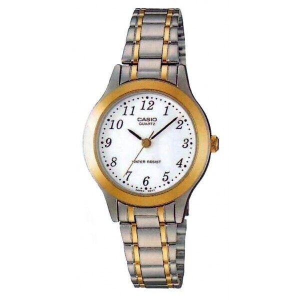 LTP-1128G-7B Casio weißer Ton Edelstahl Uhr Damen Datum