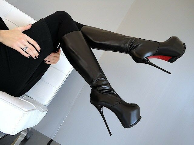 HOHE LEDER STIEFEL 1969 ITALY SEXY PLATEAU OB7 LEATHER Stiefel SEXY ITALY HIGH HEEL BIS 43 3cae9d