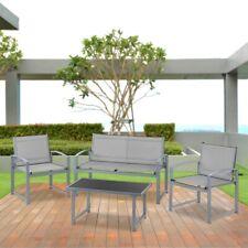 Set de muebles jardin terraza 4pc sofa+ mesita+sillas malla de acero–McHaus
