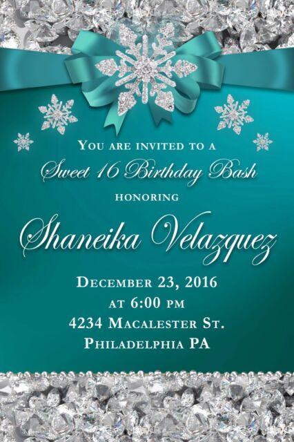 Personalized Diamond Winter Wonderland Birthday Invitations Ebay