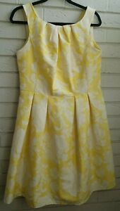F-amp-F-YELLOW-amp-CREAM-SUMMER-FLORAL-DRESS-50-S-STYLE-FIT-amp-FLARE-UK-14-LINED-ZIP