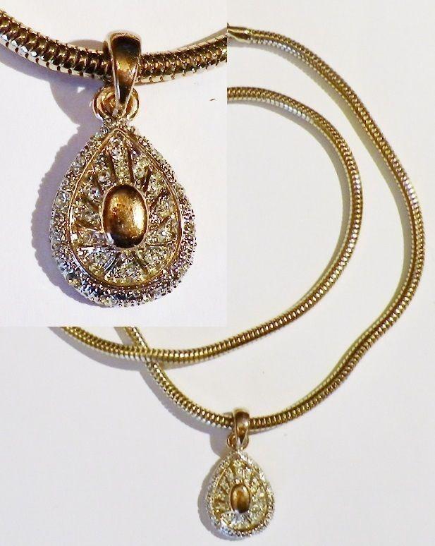 Pendentif chaine bijou rétro poire diamanté cristaux diamant color or  5058