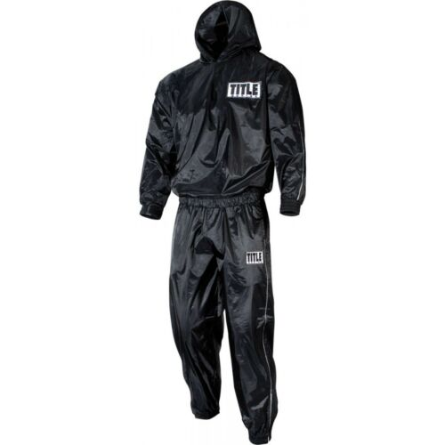 Title Boxing Rip-Stop Nylon and PVC Rubber Lined Sauna Suit With Hood Black