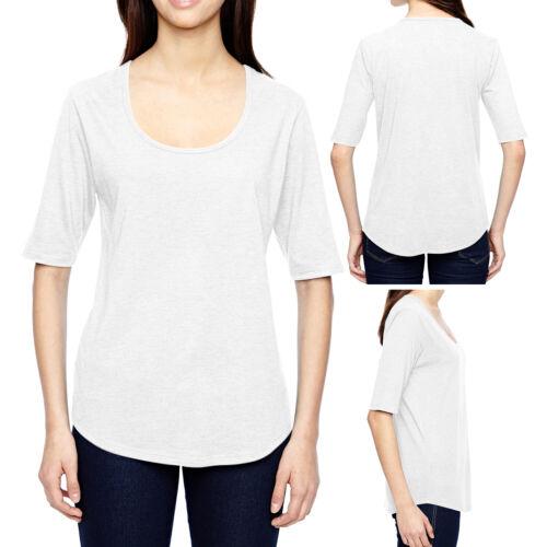 Ladies Triblend Scoop Neck T-Shirt 1//2 Sleeve Curved Hem Womens Top XS-XL 2XL