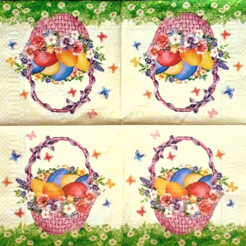 4 Vintage Paper Napkins for Decoupage Lunch  Party Table Craft  Easter Basket