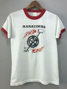 Vintage-Springfoot-70s-80s-Cycling-Club-Estes-Park-Colorado-Ringer-Tee-T-Shirt