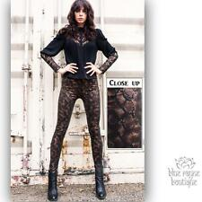 Snake Print Gold Metallic Detail Fleece Lined Fall Winter Leggings Soft Stretchy