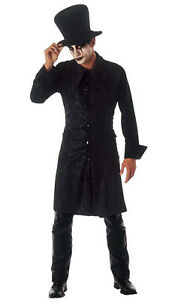 Hombre Disfraz de vampiro Cuervo ROCK Halloween Negro Largo Abrigo