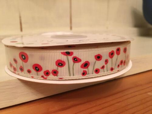 per metre Beautiful Poppy Grosgrain Ribbon   16mm wide