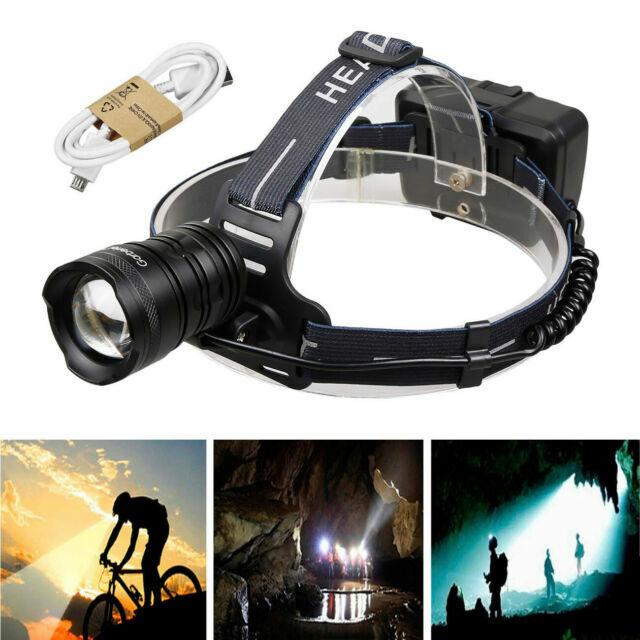 LED Head Torch Rechargeable Waterproof Headlamp USB Bright Light 250 Lumen Blue