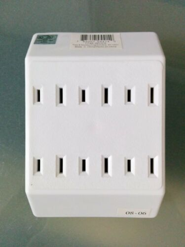 P/&S Pass and Seymour 6 Outlet 2 Wire Tap Adapter Wall Plug White