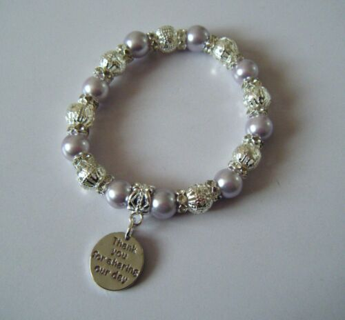 WEDDING PERSONALISED THANK YOU FOR SHARING OUR SPECIAL DAY PEARL CHARM BRACELET