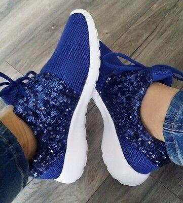 Mujer de las Señoras Azul Brillo Blanco Suela Zapatillas Zapatos Para Correr Gimnasio