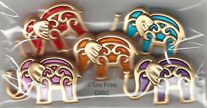 VAT-Free-Dress-It-Up-Bollywood-Elephants-5-Buttons-Craft-Sewing-Knitting-New