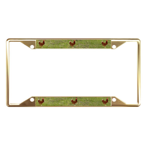 CHICKEN ANIMAL Metal License Plate Frame Tag Holder Four Holes