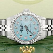Rolex Datejust Ladies 26mm Steel Jubilee Watch w/Baby Blue Dial & Diamond Bezel