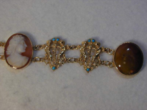 18CT-Gold-Hardstone-Cameo-Turquoise-Bracelet