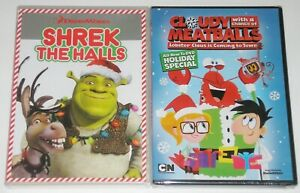 Kid Holiday DVD Lot - Shrek the Halls Cloudy with a Chance of Meatballs Holiday