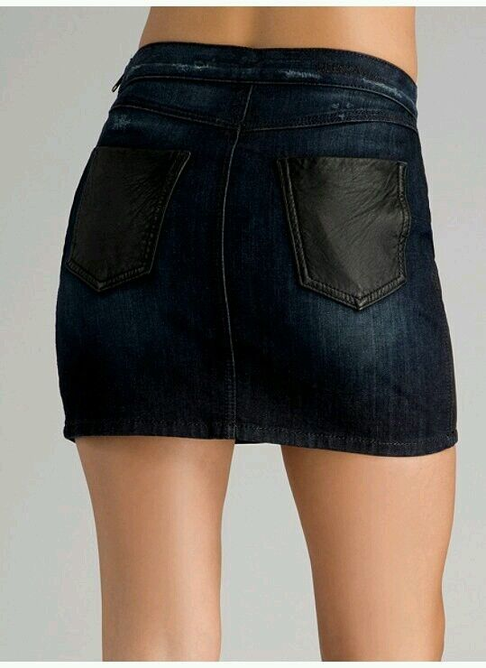 NWT GUESS LEATHER Domains Mini Skirt size 24