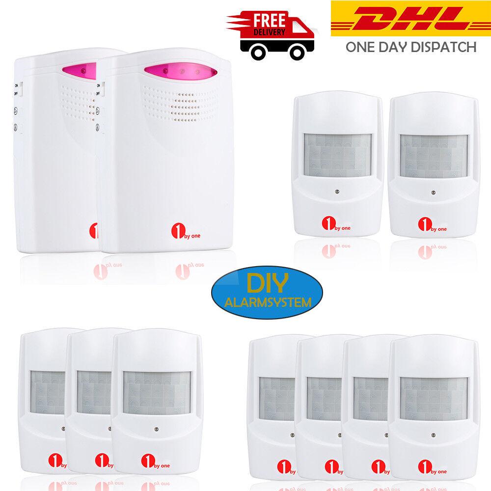 1byone Funk Alarmanlage Haus Sicherheit System 120M Bewegungsmelder LED