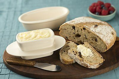 Butter Bay Ceramic Butter Keeper Butter Dish Oatmeal, Made in the USA
