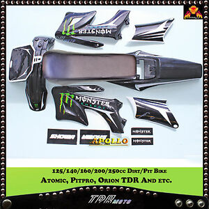 BLACK-PLASTICS-amp-MONS-STICKER-amp-SEAT-For-Giovanni-Gio-125cc-Dirt-Pit-Bike