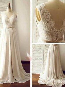 Image Is Loading Simple V Neck Lace A Line Wedding Dresses