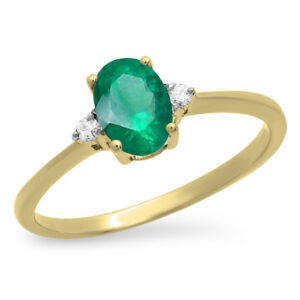 0-75-CT-10K-Yellow-Gold-Oval-Emerald-amp-Round-White-Diamond-Bridal-Promise-Ring