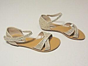 Image is loading Lorraine-Girls-3-Sandals-Rhinestone-Iridescent-Gold-Silver-