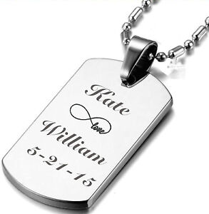 71f4d91b68e5 Image is loading PERSONALIZED-STAINLESS-STEEL-SILVER-CUSTOM-DOG-TAG-NECKLACE -