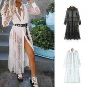 Dame-Shirt-Kleid-Tunika-Spitze-Polka-Dot-Patchwork-transparentes-Kleid-Lang-Q0G0