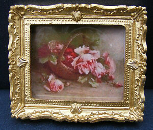 1:12 Scale Framed Picture (Print) Of A Basket Of Flowers Dolls House Miniature