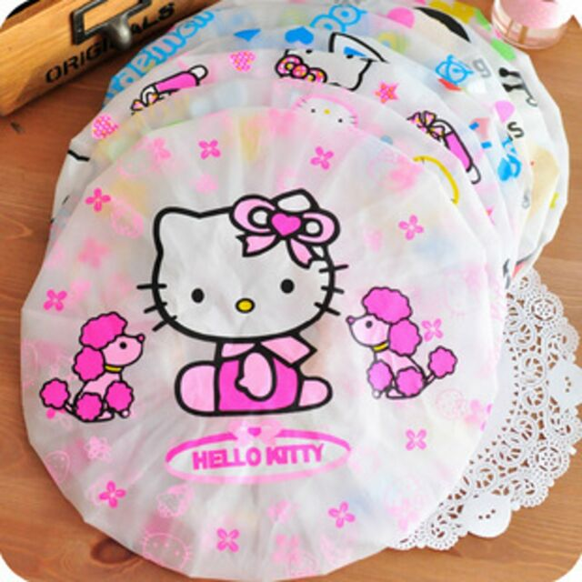412285865 Girl Lady Women Children Kid Cute Hello Kitty 1pc Shower Bath Waterproof Cap  Hat for sale online | eBay