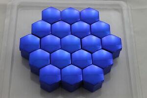 Abdeckkappen-Radschrauben-Radmuttern-Schraubenabdeckung-17mm-Blau-Chrom-Deckel