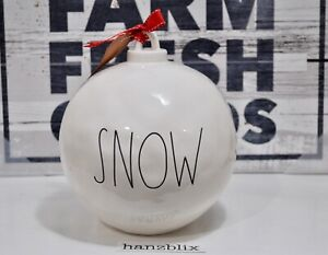 Rae-Dunn-Christmas-Ornament-Figural-Ball-SNOW-Medium-7-5-034-D-x-8-034-H-NEW-039-19